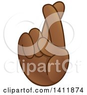 Clipart Of A Hand Emoji With Crossed Fingers Royalty Free Vector Illustration by yayayoyo
