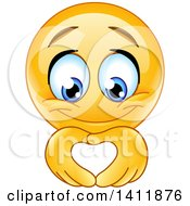 Clipart Of A Cartoon Yellow Smiley Face Emoji Emoticon Forming A Heart With His Hands Royalty Free Vector Illustration