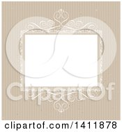 Clipart Of A White Ornate Wedding Invitation Template Frame Over Brown Stripes Royalty Free Vector Illustration