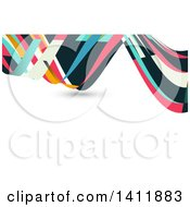 Clipart Of A Background Or Business Card Design With Colorful Waves Royalty Free Vector Illustration