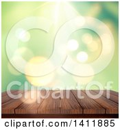 Clipart Of A 3d Wood Deck Or Table Against A Blurry Green Background With Flares Royalty Free Illustration