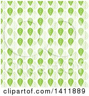 Clipart Of A Green Leaf Pattern Background Royalty Free Vector Illustration by KJ Pargeter
