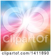 Clipart Of A Background Of A Burst Of Sunshine On Colors Royalty Free Vector Illustration by KJ Pargeter