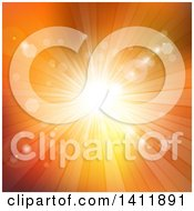 Clipart Of A Background Of A Burst Of Sunshine On Orange Royalty Free Vector Illustration by KJ Pargeter