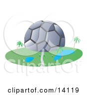 Soccer Ball Shaped Building Clipart Illustration