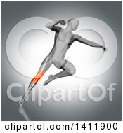 Clipart Of A 3d Anatomical Man Fighting And Jumping With Visible Leg Bones And Highlighted Knee Pain On Gray Royalty Free Illustration by KJ Pargeter