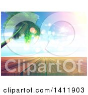 Clipart Of A 3d Tropical Beach With A Palm Tree And Deck With Flares Royalty Free Illustration