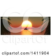 Silhoeutted Yacht And 3d Orange Ocean Sunset Framed By Palm Trees