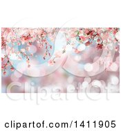 Clipart Of A Background Of 3d Pink Cherry Blossoms Royalty Free Illustration