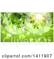 Clipart Of A Background Of 3d Green Leaves Over Flares Royalty Free Illustration by KJ Pargeter