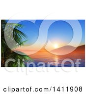 Clipart Of A 3d Landscape Of A Tropical Ban And Palm Trees At Sunset Royalty Free Illustration
