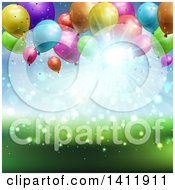 Clipart Of A Party Background Of 3d Balloons Over Blurred Sky And Grass Royalty Free Vector Illustration