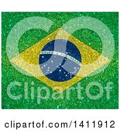 Clipart Of A Glittery Brazil Flag Background Royalty Free Illustration by KJ Pargeter