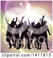 Clipart Of A Group Of Silhouetted People Dancing Over Lights Royalty Free Vector Illustration