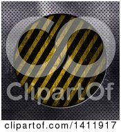 Clipart Of A Frame Of Perforated Metal Around A Circle Of Hazard Stripes Royalty Free Illustration