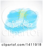 Clipart Of A Hello Summer And Sun Design On Watercolor Over Gray Royalty Free Vector Illustration