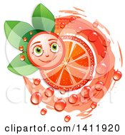 Clipart Of A Pink Grapefruit Character With A Juicy Slice Over Leaves Royalty Free Vector Illustration by merlinul