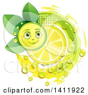 Clipart Of A Lemon Character With A Slice Drops And Leaves Royalty Free Vector Illustration