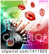 Clipart Of A Vinyl Record With Silhouetted Dancers And Lips Over Colorful Lights Royalty Free Vector Illustration