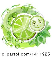 Clipart Of A Lime Character With A Slice Drops And Leaves Royalty Free Vector Illustration by merlinul