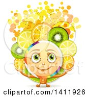 Clipart Of A Character With Fruit Slices And Bubbles Royalty Free Vector Illustration