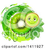 Clipart Of A Kiwi Fruit Character With A Slice Drops And Leaves Royalty Free Vector Illustration