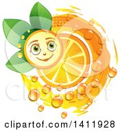 Clipart Of A Navel Orange Character With A Slice Drops And Leaves Royalty Free Vector Illustration