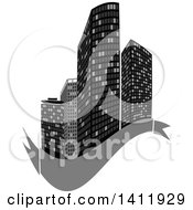 Clipart Of A Design Of City Highrise Skyscraper Buildings With A Blank Gray Banner Royalty Free Vector Illustration by dero