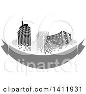 Clipart Of A Design Of City Highrise Skyscraper Buildings With A Blank Gray Banner Royalty Free Vector Illustration