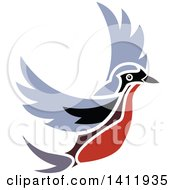 Clipart Of A Flying Robin Bird Royalty Free Vector Illustration by dero