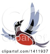 Clipart Of A Flying Robin Bird Royalty Free Vector Illustration