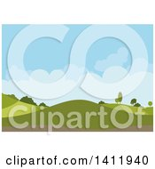 Clipart Of A Hilly Landscape Background With Blue Sky And Puffy Clouds Royalty Free Vector Illustration by dero
