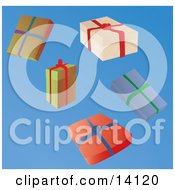 Five Wrapped Christmas Presents Clipart Illustration