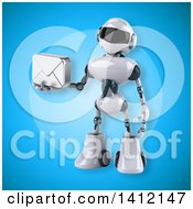 3d White And Blue Robot