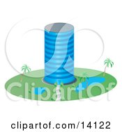 Circular Glass Building With Ponds And Palm Trees In The Landscape Clipart Illustration