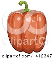 Clipart Of A Red Bell Pepper Royalty Free Vector Illustration