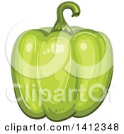 Clipart Of A Green Bell Pepper Royalty Free Vector Illustration