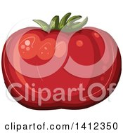 Clipart Of A Plump Tomato Royalty Free Vector Illustration by merlinul