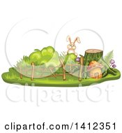 Clipart Of A Rabbit Peeking Over A Tree Stump And Mushroom House Royalty Free Vector Illustration by merlinul