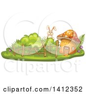 Clipart Of A Rabbit Peeking At A Mushroom House Royalty Free Vector Illustration by merlinul