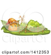 Clipart Of A Rabbit Peeking At A Mushroom Royalty Free Vector Illustration by merlinul