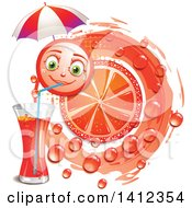 Clipart Of A Pink Grapefruit Character Drinking Juice Over Leaves Royalty Free Vector Illustration by merlinul