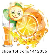 Clipart Of A Navel Orange Character Drinking Juice With Drops And Leaves Royalty Free Vector Illustration by merlinul