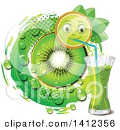 Clipart Of A Kiwi Fruit Character Drinking Juice With A Slice Drops And Leaves Royalty Free Vector Illustration by merlinul