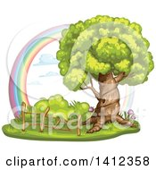 Clipart Of A Mature Tree With A Hollow And Wood Fence Against A Rainbow Royalty Free Vector Illustration by merlinul