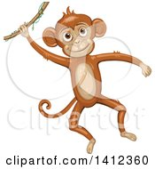 Clipart Of A Happy Monkey Swinging On A Jungle Vine Royalty Free Vector Illustration