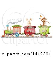 Clipart Of A Monkey And Rabbit Riding A Vegetable Train Royalty Free Vector Illustration by merlinul