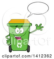 Clipart Of A Cartoon Green Recycle Bin Character Waving And Talking Royalty Free Vector Illustration