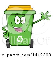 Clipart Of A Cartoon Green Recycle Bin Character Waving Royalty Free Vector Illustration