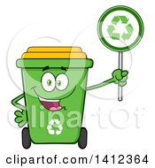 Clipart Of A Cartoon Green Recycle Bin Character Holding A Sign Royalty Free Vector Illustration